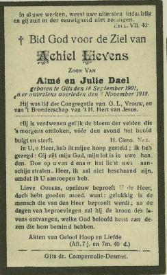 Bidprentje Achiel Lievens