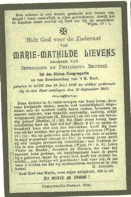 Bidprentje Marie Mathilde Lievens