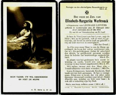 Bidprentje Elisabeth-Margarita Werbrouck