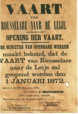 Affiche voor de opening van de vaart Roeselare – Leie