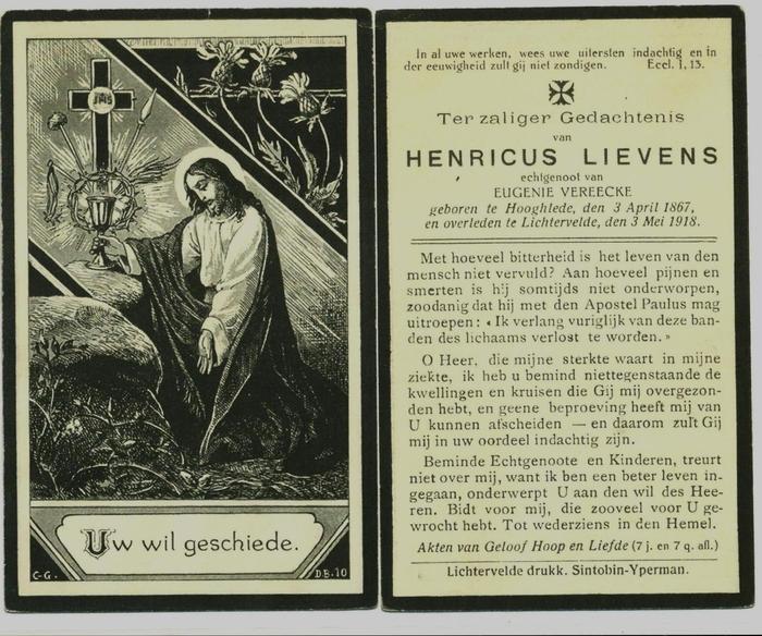 Bidprentje Hendricus Lievens