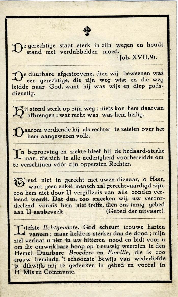 Bidprentje Prosper Beheyt, 1931
