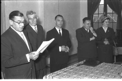Huldiging gedecoreerden Unions: speech van de directeur, Izegem 1957
