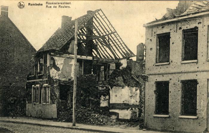 Puin woning Rumbeeksesteenweg na bombardement, WO I