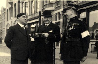 Oefening Passieve Luchtbescherming, burgemeester Mahieu, 1938