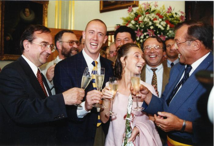 Ontvangst Frederik Deburghgraeve na gouden medaille, 1996