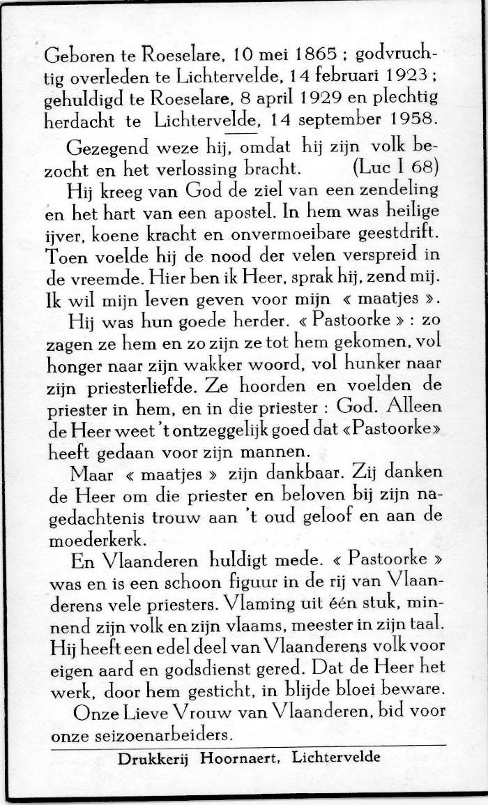 Gedachteniskaartje pasterke Edmond Denys, 1958