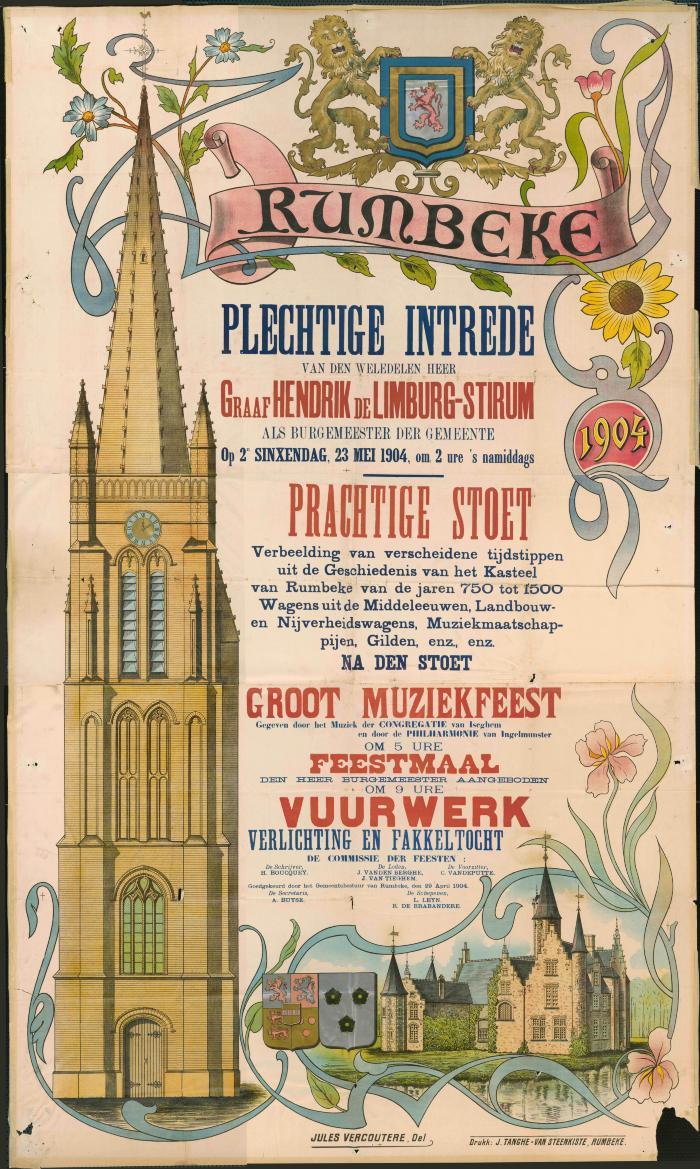 Affiche inhaling burgemeester de Limburg-Stirum, 1904