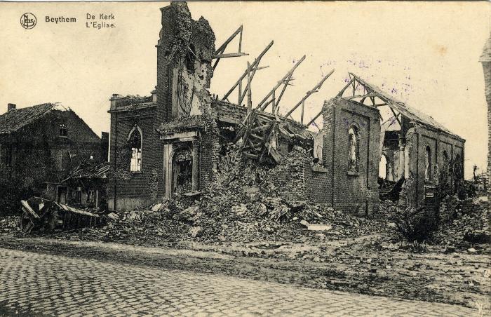 Puin Sint-Godelievekerk Beitem na dynamitering, WO I