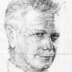 Tekening van componist Willy Ostyn, 1983