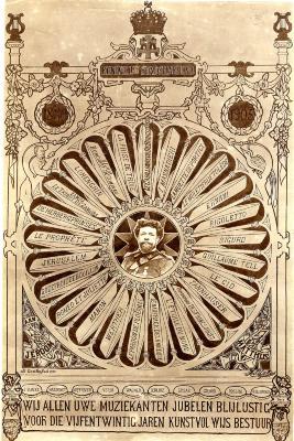 Hulde Jeroom Matthijs 25 jaar lid Koninklijke Stadsharmonie Roeselare, 1905