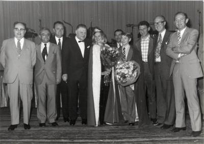 Verkiezing batjeskoningin Monique Vantomme en batjeskoning Freddy Claessens, 1972