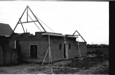 Balcaen's huis in opbouw, Izegem 1957