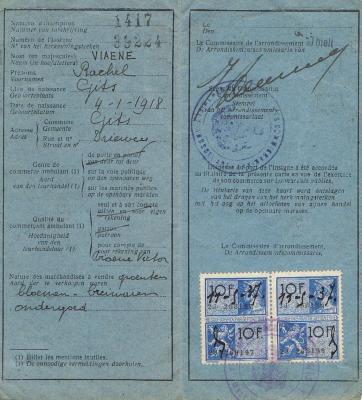 Leurderskaart Rachel Viaene 1937-1938
