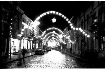Kerstverlichting Marktstraat, Izegem, 1959