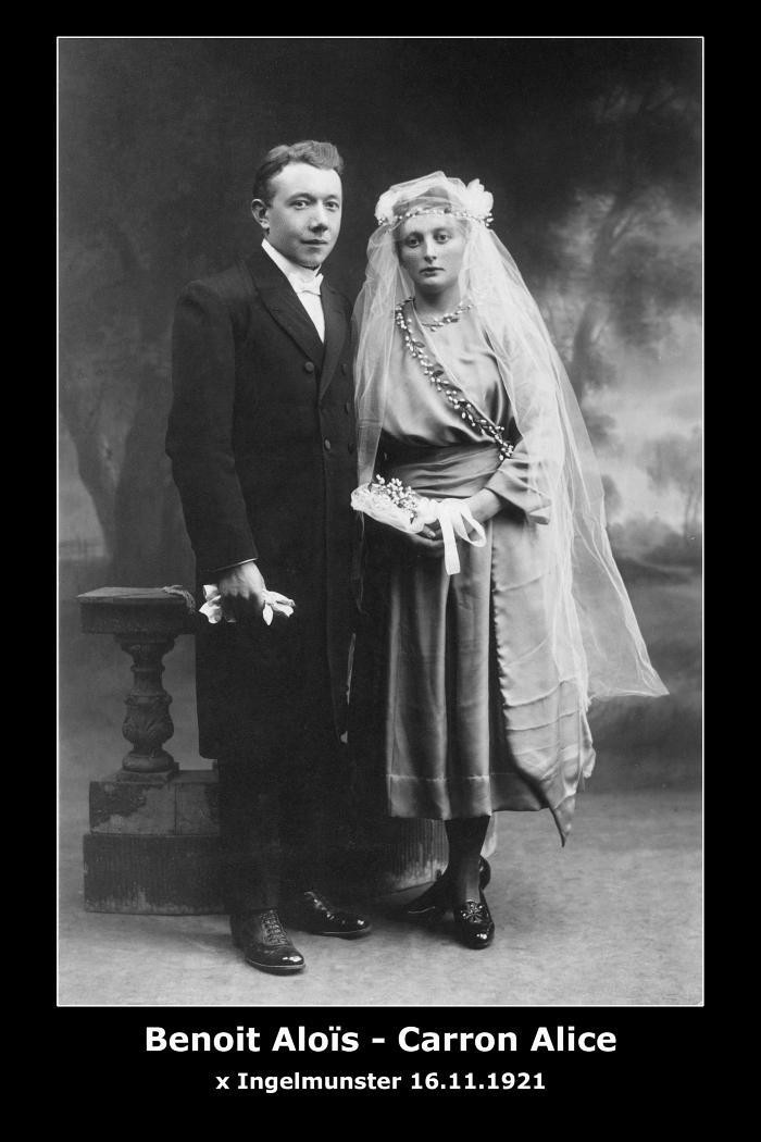 Huwelijk Aloïs Benoit - Alice Carron, Ingelmunster, 1921