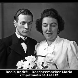 Huwelijk André Beels - Maria Descheemaeker, Ingelmunster, 1942
