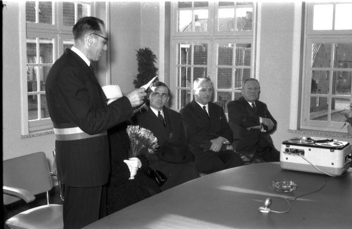 Huldiging Saelen: toespraak burgemeester, Kachtem 1958