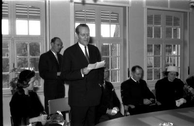 Huldiging Saelen: toespraak afgevaardigde kabinet, Kachtem 1958