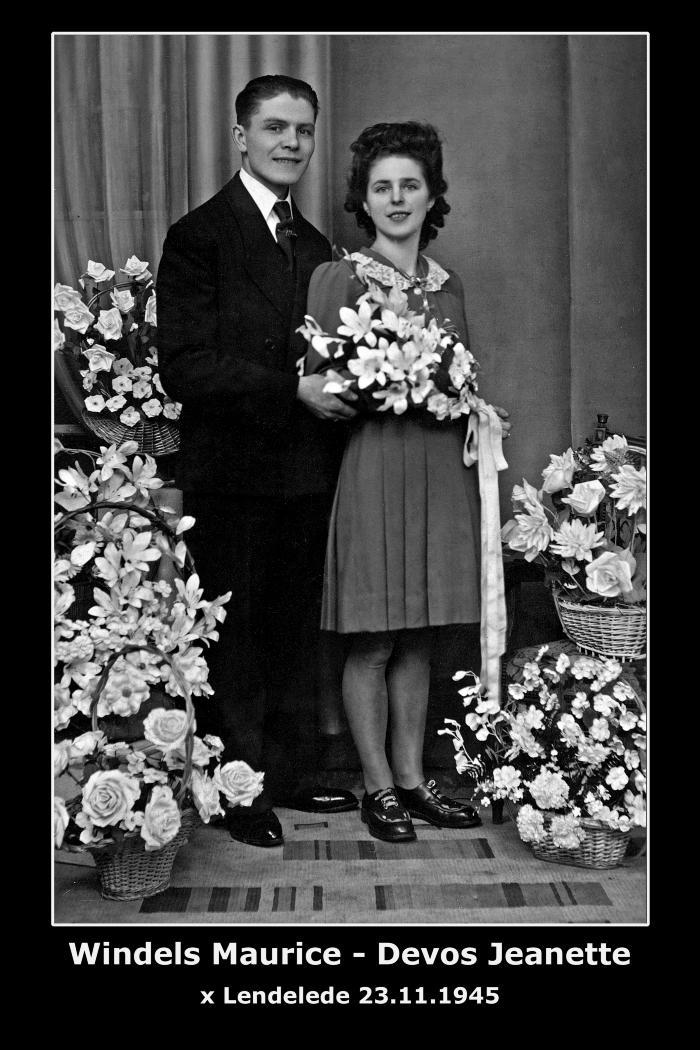 Huwelijk Maurice Arthur Windels - Jeanette Ivonne Devos, Lendelede, 1945