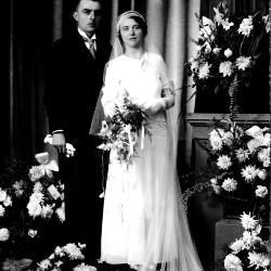 Huwelijksfoto van Jules Ghekiere en Rachel Bouckaert